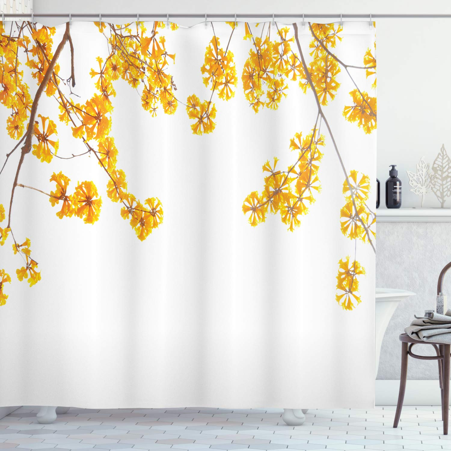 yellow shower curtain flower tree branches bloom blossoming in spring garden sun rays nature theme home bathroom