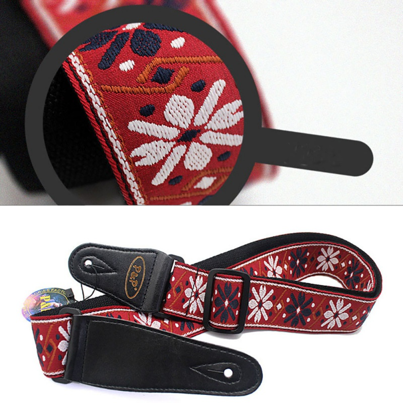 1PC Adjustable Woven Embroidery Electric Guitar Strap Vintage Flowers Fabrics Leather Ends Strap Guitar Parts for drop Shipping