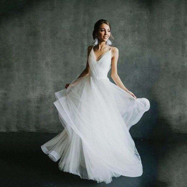 2019 Boho חתונה קו הכלה שמלות לנשים ללא משענת אלגנטית Vestido דה Noiva לורי חתונה שמלות לנשים