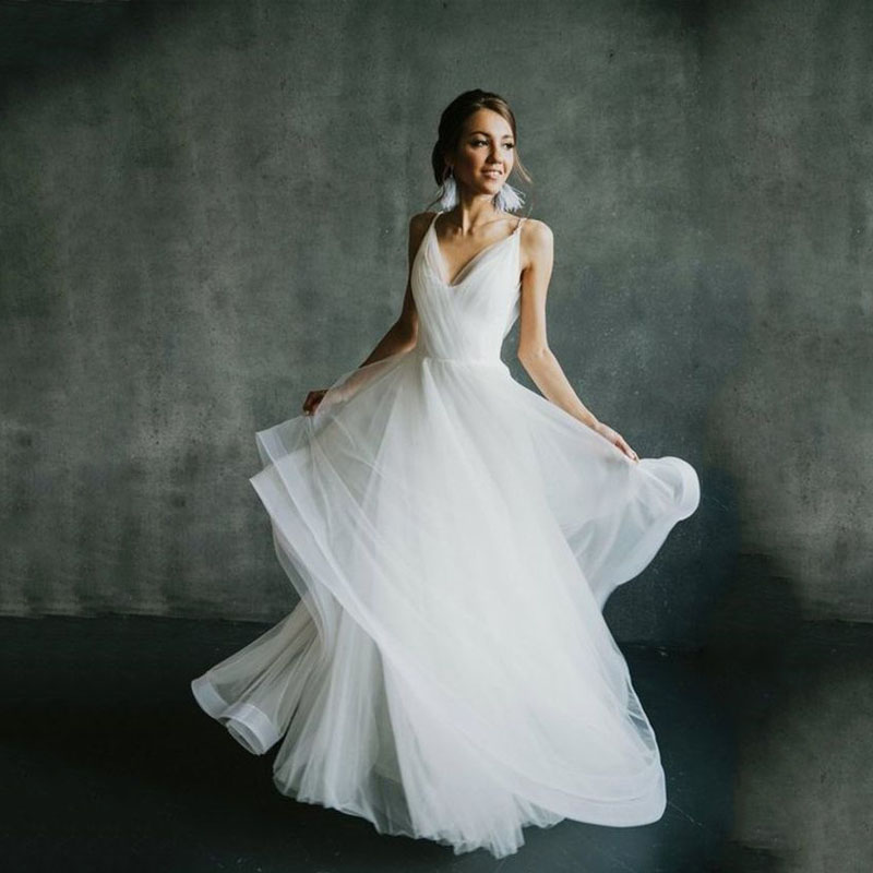 2019 Boho Wedding Dress  A Line Bridal Gowns For Women Backless Elegant Vestido De Noiva Lorie Wedding Gowns For Women