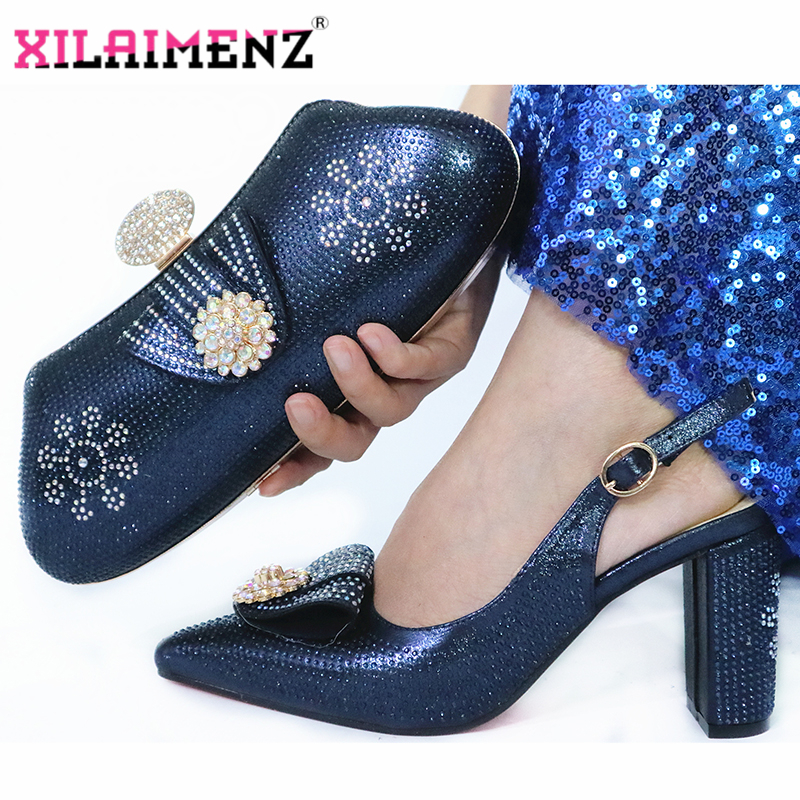 Dark Blue Color New Arrivals Elegant Autumn Women Party Shoes And
