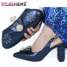สีน้ำเงินเข้มสินค้าใหม่ Elegant ฤดูใบไม้ร่วงรองเท้าผู้หญิงและกระเป๋าสำหรับแอฟริกันสไตล์ส้นสูงรองเท้าแตะและกระเป๋าชุด