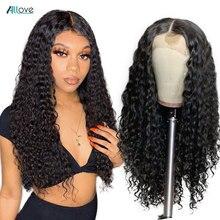 Allove Peluca de cabello humano peruano de ondas profundas, peluca de encaje frontal 13X4, peluca de encaje 13x6x1, cabello humano rizado profundo para mujeres negras
