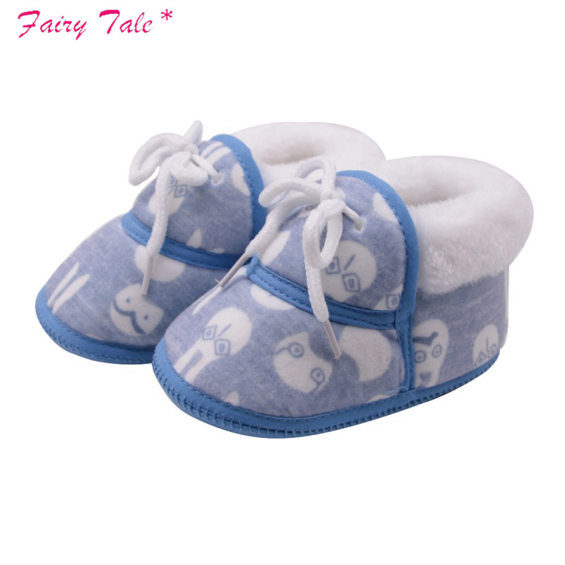 Baby Shoes Baby Boots Newborn Cartoon Printed Cotton Shoes With Short Tube Warm Winter Boots