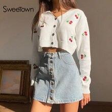 Sweetown – Cardigan tricoté à manches longues pour femme, col en V, Streetwear d'automne des années 90, Style Preppy, pull cerise