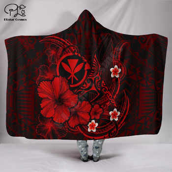 Summer Hibiscus Polynesian Hawaii style Hooded Blanket 3D full print Wearable Blanket Adult men women Blanket