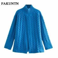 Женский свитер водолазка fakuntn модный синий пуловер вязаный