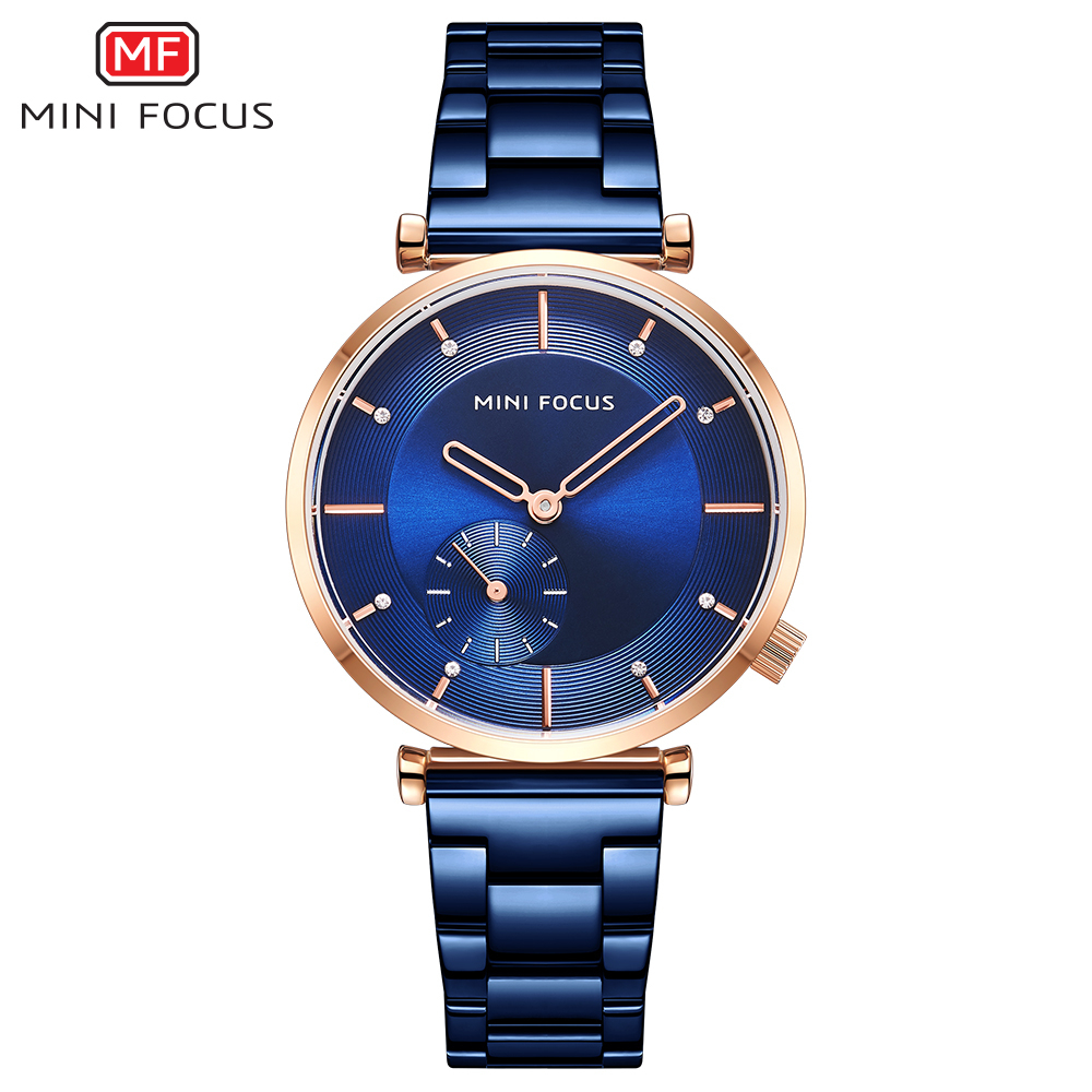 MINI FOCUS Women Watches Top Brand Luxury Fashion Womans Watch Ladies Blue Rose Gold Stainless Steel Wrist Watches For Women