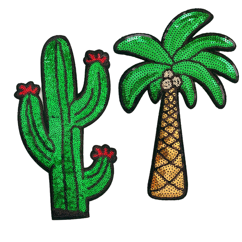 Embroidery The cactus Coconut trees Mend Patch Badges Clothing Accessories Wholesale Patches Iron on Patches for Clothing