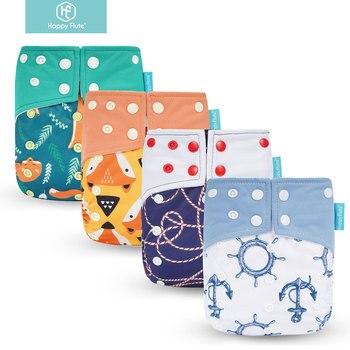 ¡Genuino! Pañal de tela para bebé con bolsillo de gamuza OS Happy Flute con dos bolsillos y doble cierre a presión
