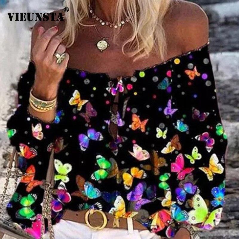 2020 Boho Blouse Elegant Floral Print Flare Sleeve Shirt Sexy Lace-up Tassel Off Shoulder Women Tops Spring Summer Chic Blouses