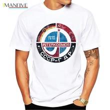 CCCP Soviet Union Space Exploration plan Yuri Gagarin retro badge t shirt homme summer new white casual Interkosmos men tshirt