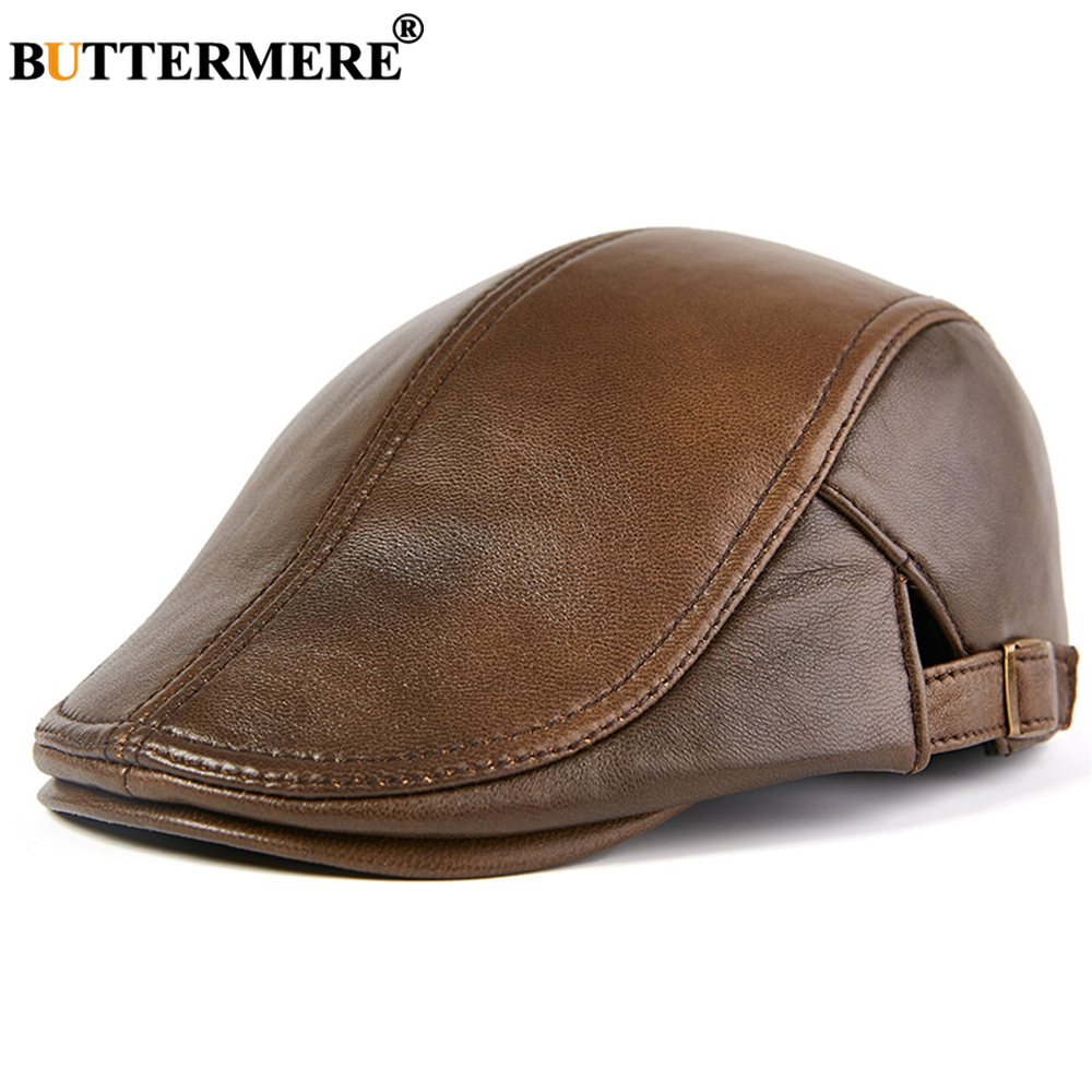 BUTTERMERE Men Beret Hat Real Leather Flat Cap Sheepskin Autumn Winter Male Brown Adjustable High Quality Gatsby Mens Beret Caps