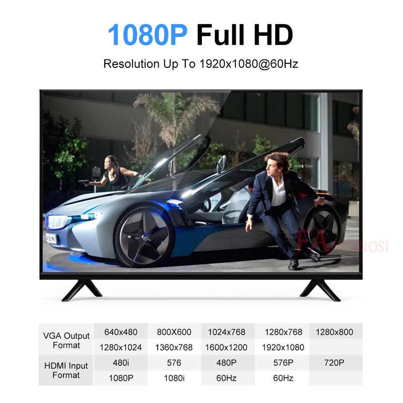 Adaptador de HDMI a VGA FANGTUOSI, convertidor macho a hembra de 1080P, adaptador de HDMI-VGA con Cable de toma de Video, Audio HDMI VGA para PC TV Box