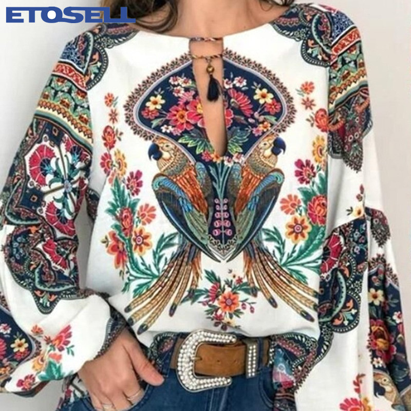 S 5XL Women Bohemian Clothing Blouse Shirt Vintage Floral Print Tops Ladies Blouses Blusa Feminina Plus size