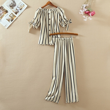Summer New 2 Piece Outfits Women Striped Printed Puff Sleeve Bow Tie Lace Up T Shirt and Wide Leg Pants Chiffon Two Piece Sets stylish monkey king printed t shirt and pencil pants twinset for women