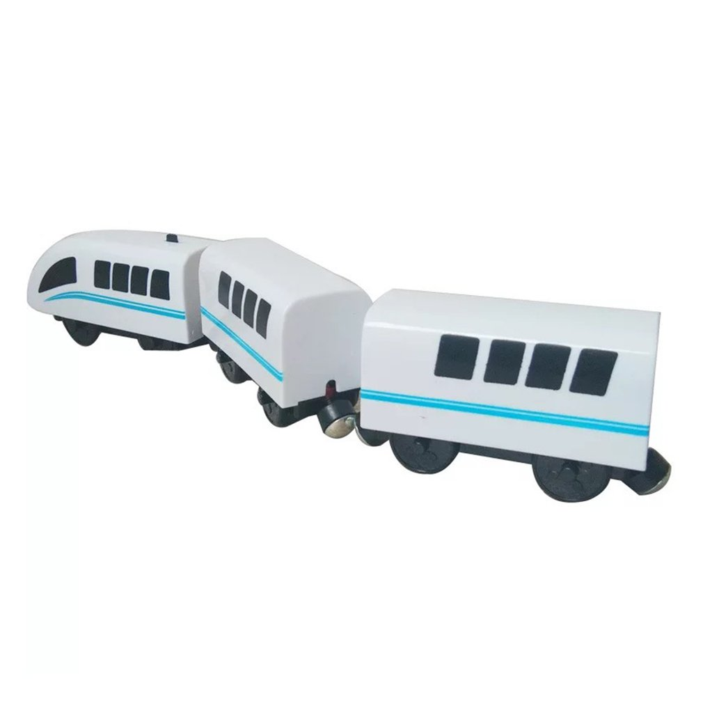 Kids Electric Train Toys Magnetic Slot Diecast Electric Railway With Two Carriages Train Wood Toy It For Standard Train Railway