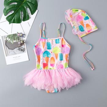 2020 stroje kąpielowe dla dziewczyn strój kąpielowy Bikini lody księżniczka sukienka Cute Cartoon wzór B dzieci sukienka strój kąpielowy One Piece Bikini tanie i dobre opinie CN (pochodzenie) Pasuje prawda na wymiar weź swój normalny rozmiar Dziewczyny spandex Zwierząt B1139-tong8 one piece 2020