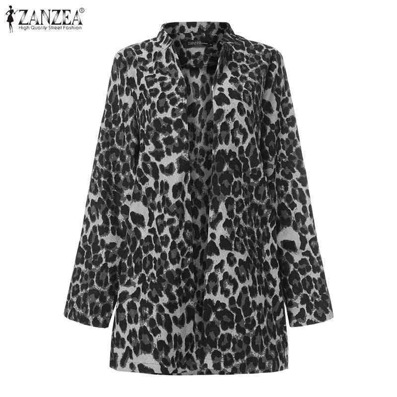 Zanzea 2020 moda feminina leopardo impresso jaquetas trabalho ternos veludo engrossar casacos senhoras casual gola bussiness outwear