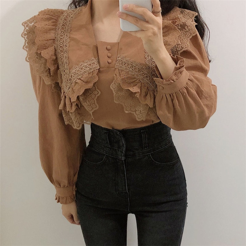Alien Kitty Lamination Casual Lace Ruffles Sweet Chic Gentle 2020 Hot Sale Cute All-Match Stylish Blouses Loose Office Lady Tops