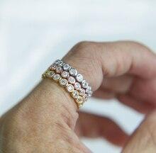 2017 chegam novas moldura definir círculo feminino jóias três cores 925 prata esterlina casamento banda eternidade pilha dedo anel
