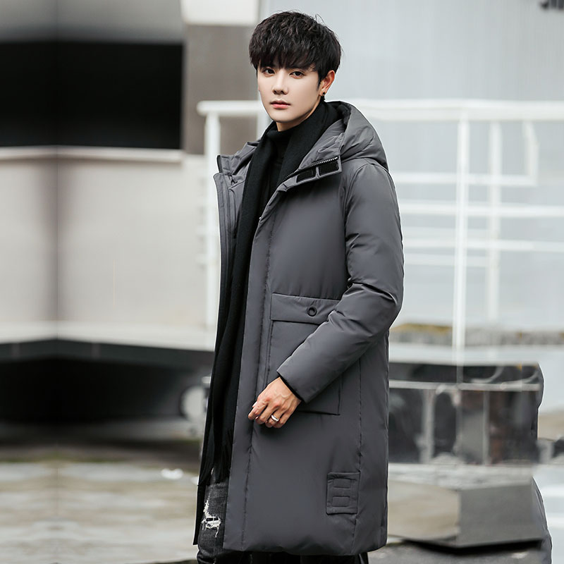 2019 Winter New Style 2019 Winter New Men's Fashion Warm Medium And Long Down Jacket Hooded  White Duck Down Coat