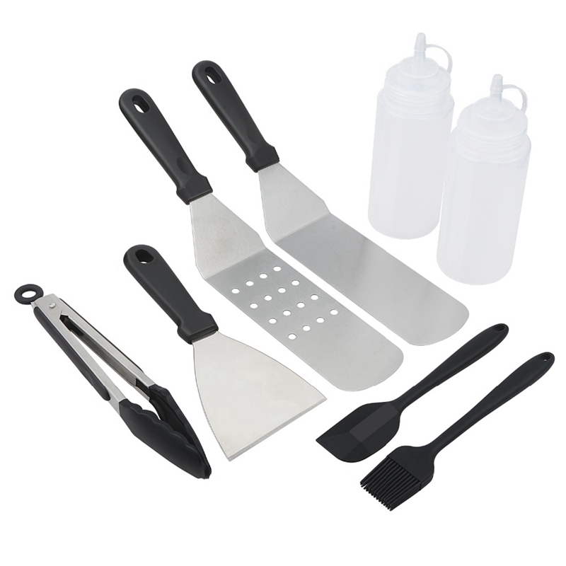 8 Pcs/Lot Bbq Tools Barbecue Set For Teppanyaki Spatulas For Barbecue Scraper Grill Accessories For Grilling Bbq Griddle Tools