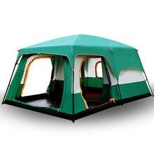 Camping zelt Zwei geschichte outdoor 2 wohnzimmer und 1 hall high qualität familie camping zelt große raum zelt 8/10 outdoor camping