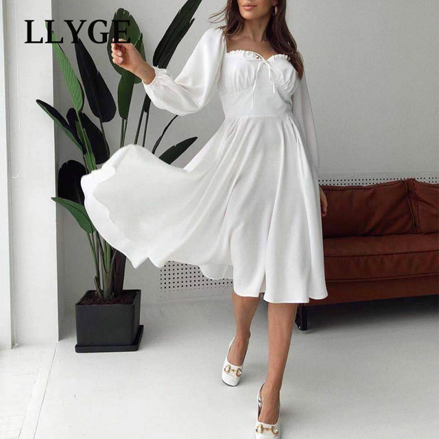 Elegant Spring White Women's Dress Vintage High Waist Puff Long Sleeve Female Dresses 2021 Spring Fashion Office Ladies Vestidos 3