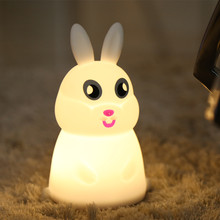 Cartoon Rabbit LED Night Light Touch Sensor Colorful Silicone Bunny Lamp Bedroom Bedside for Children Kids Baby Gift