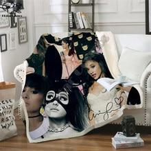 Ariana grande velo cobertor de pelúcia 3d impresso para adultos sofá sherpa velo colcha envoltório lance cobertor estilo-1