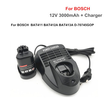 12V 3000mAh Li-ion BAT411 Rechargeable Battery +charger for BOSCH BAT411 BAT412A BAT413A D-70745GOP 2607336013 2607336014 PS20-2