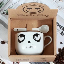 Two-piece cartoon ceramic cup coffee high temperature mugs creative Sent at random