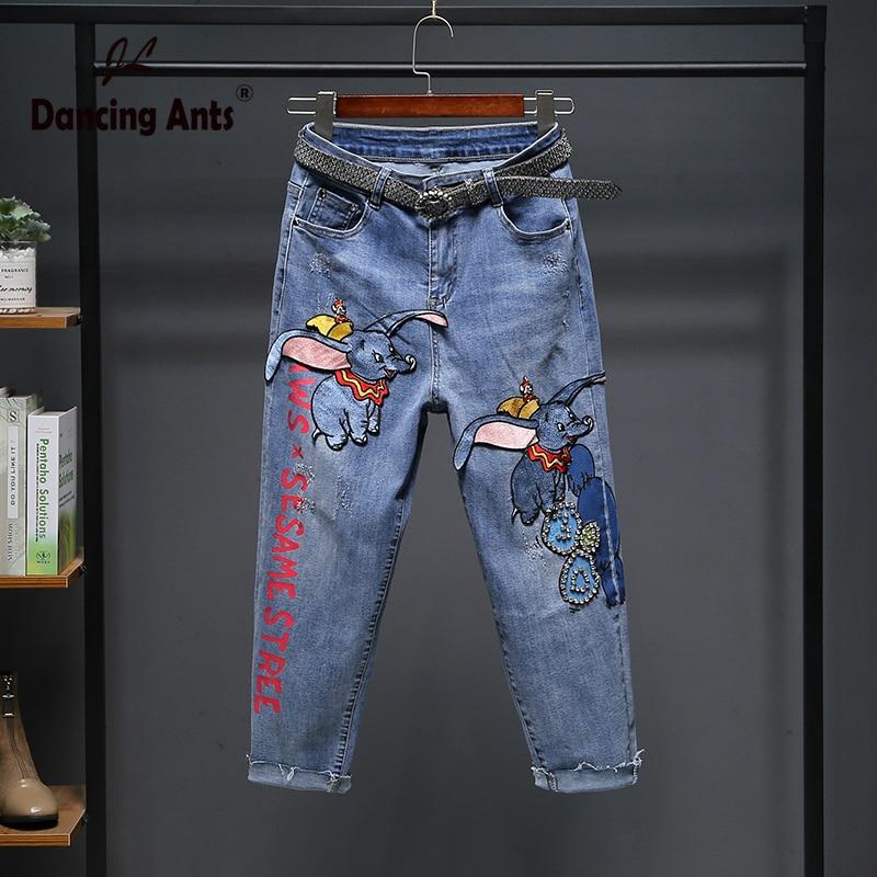 Women Jeans Cartoon Little Elephant Embroidery Patchwork Korean Loose Denim Pants 2020 Spring Femme Fashion Casual Harem Fp