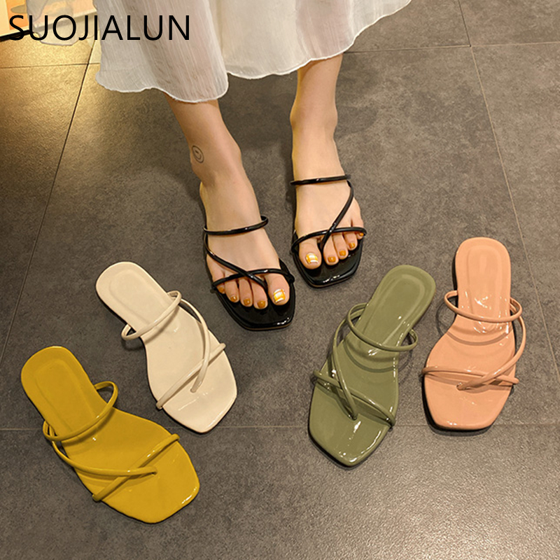 SUOJIALUN 2020 Summer Women Slipper Fashion Candy Colors Narrow Band Beach Sandal Shoes Ladies Open Toe Beach Flip Flops