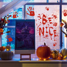 WS 1.28 Million Halloween English Wall Sticker Hot Selling bo li tie English Living Room Bedroom Window Decoration qiang tie hua(China)