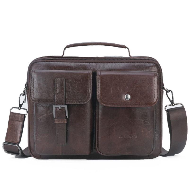 Men's Vintage Leather Briefcase Business Cases Shoulder Messenger Crossbody Bag Handbag