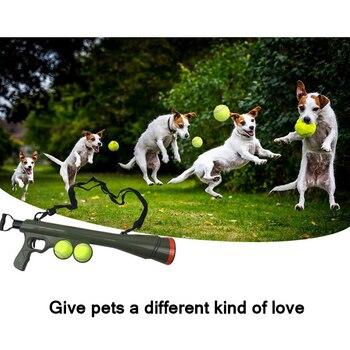 2020 zabawki na zewnątrz przysmak dla zwierząt domowych Launcher zabawki domowe zwierzaki psia zabawka piłka śmieszne zwierzęta pies pistolet-zabawka szkolenia kaganiec katapulta narzędzie motywacyjne