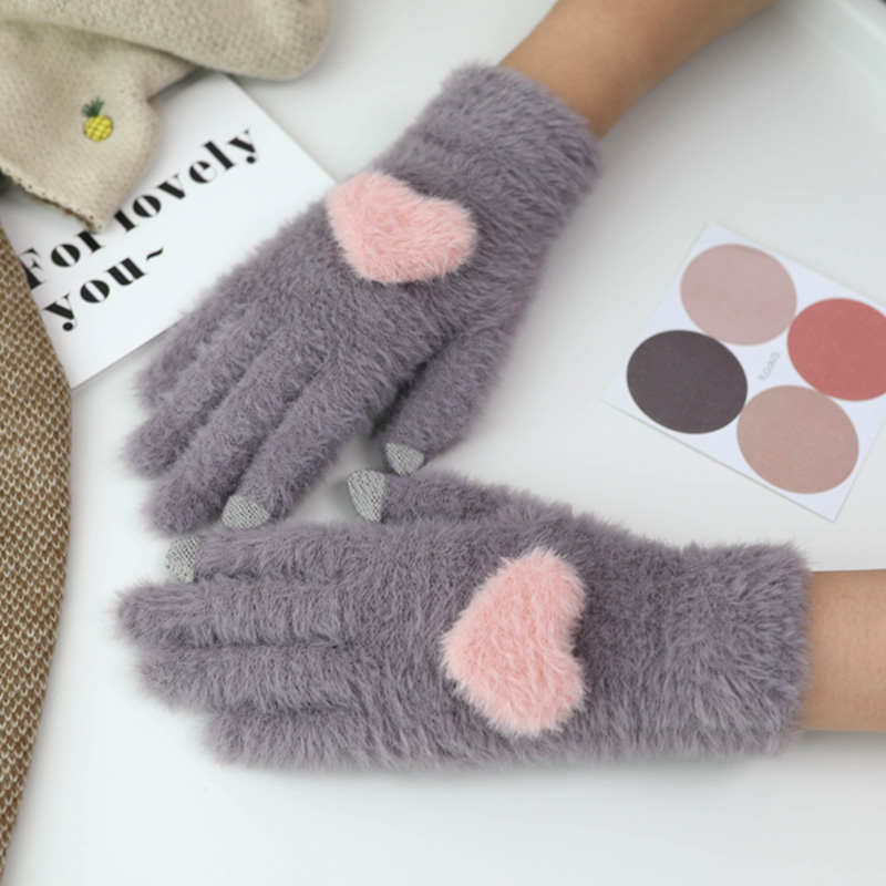 Fashionable and Knitted Touch Screen Gloves for Women Made of Soft Rabbit Wool with Pink Heart Design 4