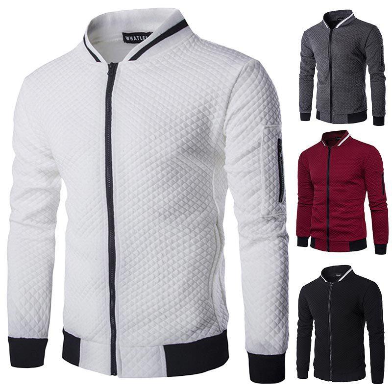 New men's jacket zipper stand collar sweater coat male jacket plaid cardigan(China)