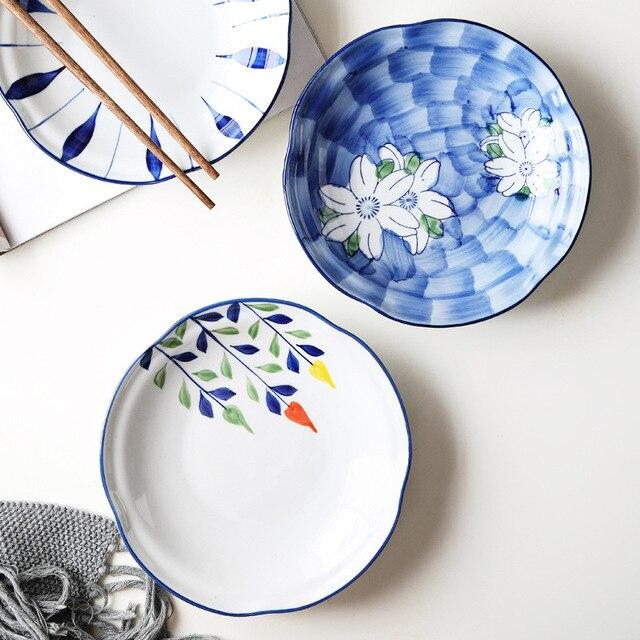Фото тарелка керамическая с глазурью ручная роспись в японском стиле