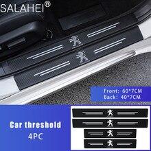 4 adet araba kapı eşik karbon Fiber sürtme plakası etiket Peugeot 107 108 206 207 301 308 307 407 408 508 2008 3008 4008 5008