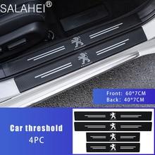 4PCS Car Door Threshold Carbon Fiber Scuff Plate Sticker For Peugeot 107 108 206 207 301 308 307 407 408 508 2008 3008 4008 5008