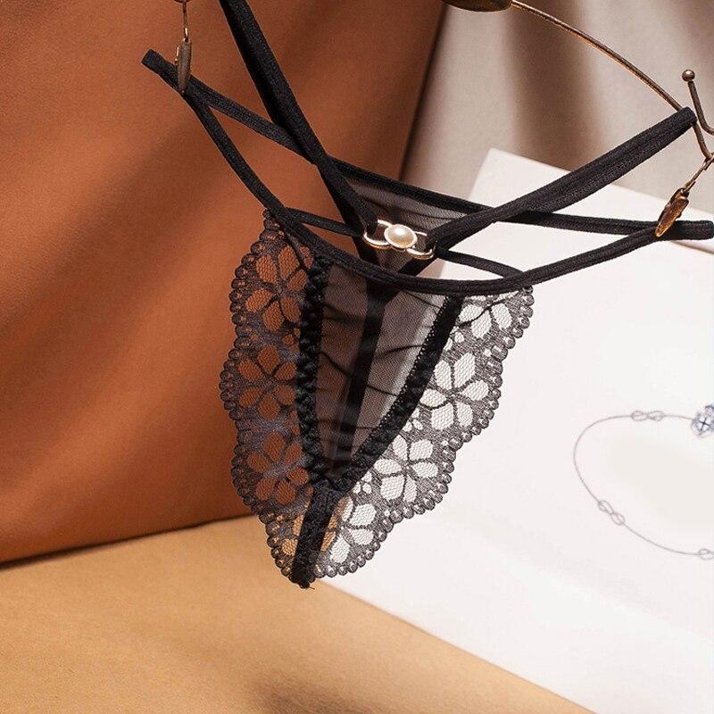 Seksi günaha düşük bel çapraz dantel tanga inci dekorasyon şeffaf ağ külot flört seksi paket G-String