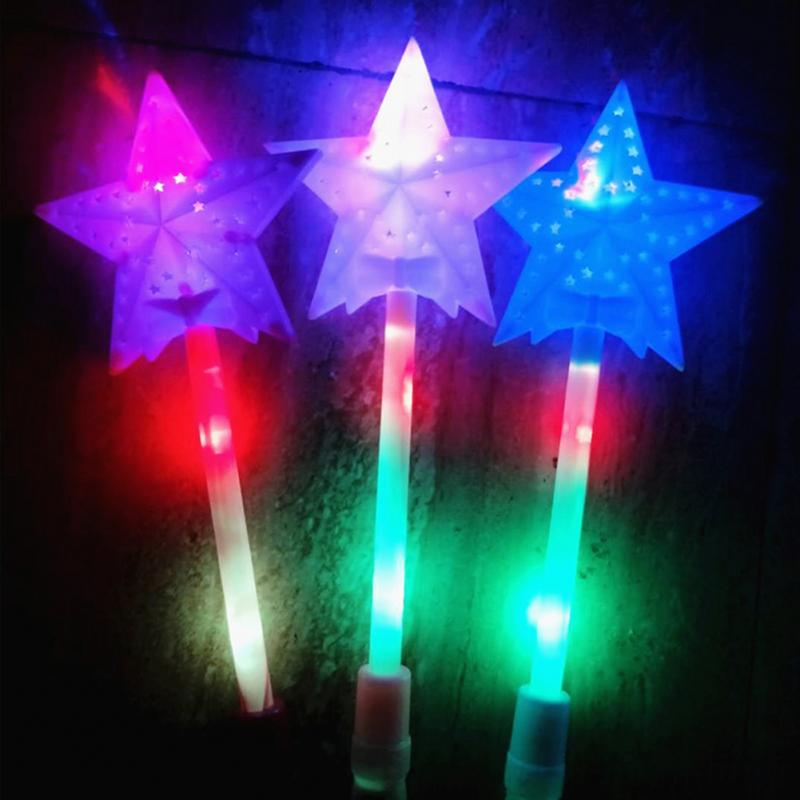 Star LED Toys Three Luminescent Pattern Magic Star Wand Flashing Light Up Glow Stick For Party Christmas Colorful Toys