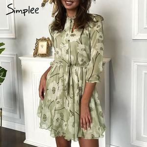 Image 5 - Женское винтажное платье с цветочным принтом Simplee, элегантное офисное платье с высокой талией и рукавом до локтя, шикарные вечерние платья для весны и лета
