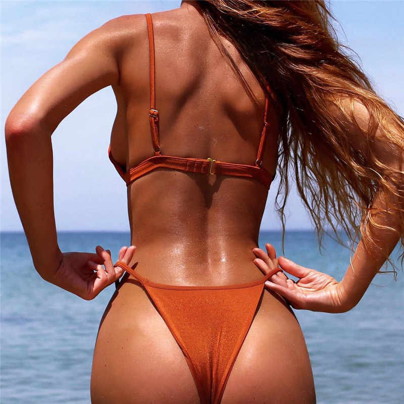 PLAVKY 2020 Seksi String Biquini Nakal Mandi Pakaian Renang Wanita Mirco Thong Baju Renang Wanita Brasil Push Up Bikini