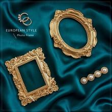 Arrière plan de photographie tissu de soie et cadre Photo Vintage doré accessoires de Studio de tournage fond Fotografia pour bijoux boucles doreilles anneau