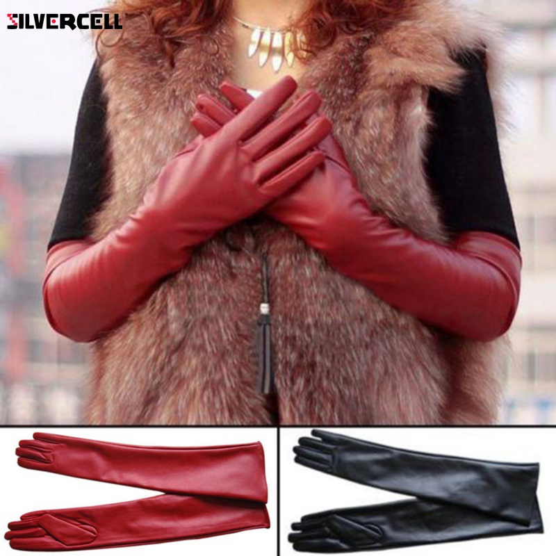 Women PU Faux Leather Elbow Gloves Winter Long Gloves Warm Lined Finger Gloves M-XL