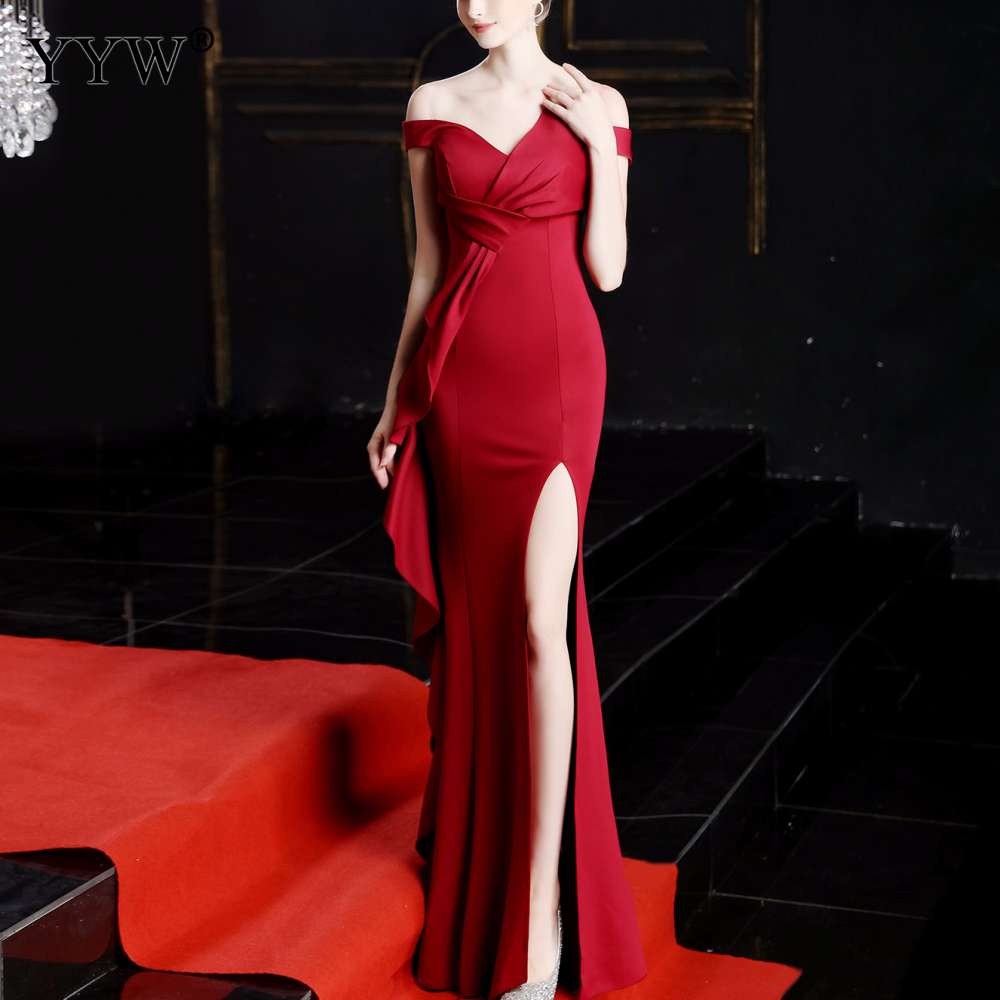 Red Elegant Long Evening Dress Off Shoulder Sexy Robe De Soiree High Split Fashion Slim Mermaid Dress Ruffle Formal Party Gowns